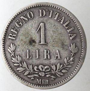 reverse: Casa Savoia. Vittorio Emanuele II. 1861-1878.Lira 1863 Milano Valore. Ag. Gig. 68.MB. NC.