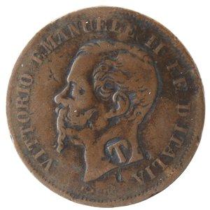 obverse: Casa Savoia. Vittorio Emanuele II. 1861-1878.5 centesimi 1862 Napoli. Ae. Gig. 104.qMB.Contromarca T al diritto.