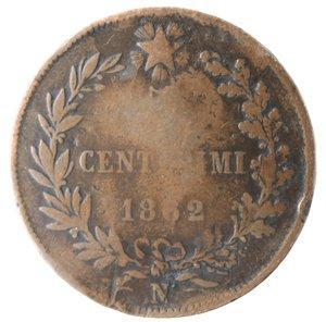reverse: Casa Savoia. Vittorio Emanuele II. 1861-1878.5 centesimi 1862 Napoli. Ae. Gig. 104.qMB.Contromarca T al diritto.