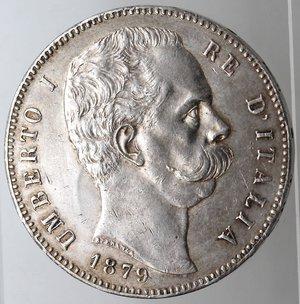 obverse: Casa Savoia. Umberto I. 1878-1900.5 lire 1879. Ag. Gig 24. SPL+.