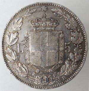 reverse: Casa Savoia. Umberto I. 1878-1900.5 lire 1879. Ag. Gig 24. SPL+.