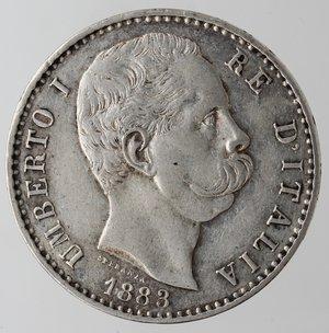 obverse: Casa Savoia. Umberto I. 1878-1900. 2 Lire 1883. Ag. Gig. 27. qSPL/BB+. Fondi lucenti.