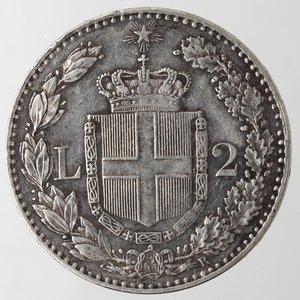reverse: Casa Savoia. Umberto I. 1878-1900. 2 Lire 1883. Ag. Gig. 27. qSPL/BB+. Fondi lucenti.