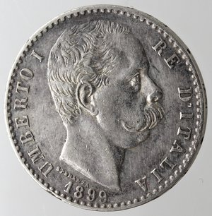 obverse: Casa Savoia. Umberto I. 1878-1900. 2 Lire 1899. Ag. Gig. 34. qSPL. NC.