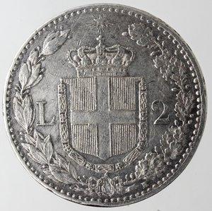 reverse: Casa Savoia. Umberto I. 1878-1900. 2 Lire 1899. Ag. Gig. 34. qSPL. NC.