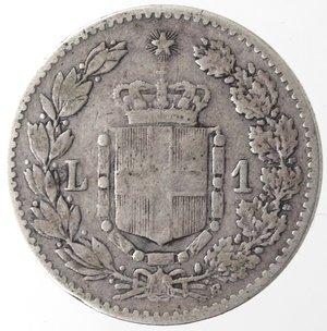 reverse: Casa Savoia. Umberto I. 1878-1900. Lira 1892. Ag. Gig.39. MB+/qBB. RR.