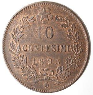 reverse: Casa Savoia. Umberto I. 1878-1900. 10 centesimi 1893 Birmingham. Ae. Gig. 48. qFDC. Rame rosso.
