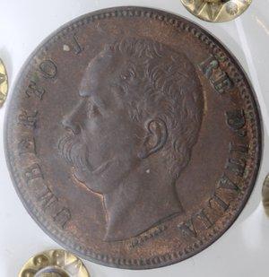 obverse: Casa Savoia. Umberto I. 1878-1900. 10 centesimi 1893 Birmingham. Ae. Gig. 48. BB+. Periziata Marcoccia. Tracce di rame rosso.
