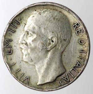 obverse: Casa Savoia.Vittorio Emanuele III.1900-1943.10 lire 1928 Biga. Una rosetta.Ag.Gig. 57.qMB. Molti colpi ai bordi. NC.