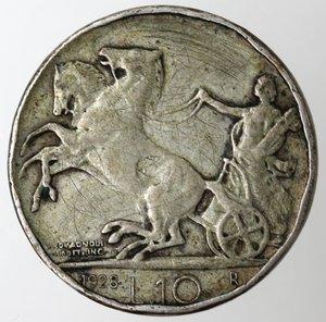 reverse: Casa Savoia.Vittorio Emanuele III.1900-1943.10 lire 1928 Biga. Una rosetta.Ag.Gig. 57.qMB. Molti colpi ai bordi. NC.