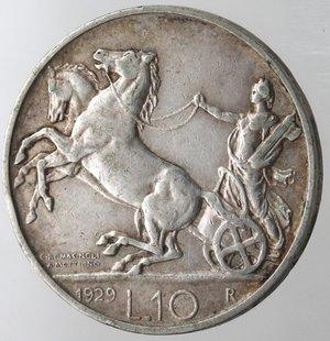 reverse: Casa Savoia. Vittorio Emanuele III. 1900-1943. 10 lire 1929 Biga Una rosetta. Ag. Gig 58. BB. R.