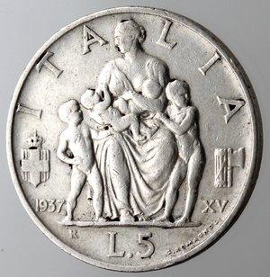 reverse: Casa Savoia. Vittorio Emanuele III. 1900-1943. 5 lire 1937 Famiglia. Ag. Gig. 84.BB+. R.