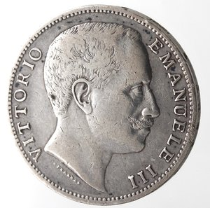 obverse: Casa Savoia. Vittorio Emanuele III. 1900-1943. 2 lire 1907 Aquila sabauda. Ag. Gig. 95.BB+. Colpetto al bordo.