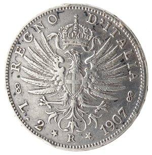 reverse: Casa Savoia. Vittorio Emanuele III. 1900-1943. 2 lire 1907 Aquila sabauda. Ag. Gig. 95.BB+. Colpetto al bordo.