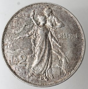 reverse: Casa Savoia. Vittorio Emanuele III. 1900-1943. 2 lire 1911 Cinquantenario. Ag. Gig. 100. BB+.