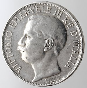 obverse: Casa Savoia. Vittorio Emanuele III. 1900-1943. 2 lire 1911 Cinquantenario. Ag. Gig. 100. BB. Colpi. Pulita.