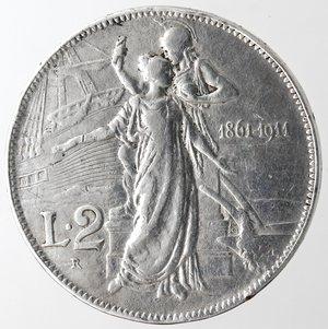 reverse: Casa Savoia. Vittorio Emanuele III. 1900-1943. 2 lire 1911 Cinquantenario. Ag. Gig. 100. BB. Colpi. Pulita.