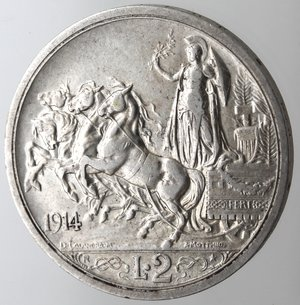 reverse: Casa Savoia. Vittorio Emanuele III.1900-1943.2 lire 1914 Quadriga briosa. Ag. Gig. 101.BB+.
