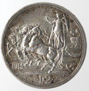 reverse: Casa Savoia. Vittorio Emanuele III.1900-1943.2 lire 1914 Quadriga briosa. Ag. Gig. 101.BB.