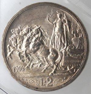 reverse: Casa Savoia. Vittorio Emanuele III. 1900-1943. 2 lire 1916 Quadriga Briosa. Ag. Gig. 103. SPL.