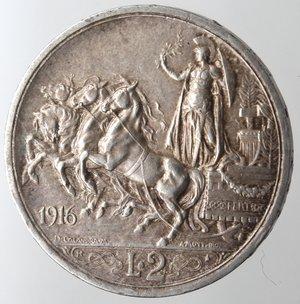 reverse: Casa Savoia. Vittorio Emanuele III. 1900-1943. 2 lire 1916 Quadriga Briosa. Ag. Gig. 103. BB+.
