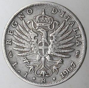 reverse: Casa Savoia. Vittorio Emanuele III. 1900-1943.Lira 1907 Aquila Sabauda. Ag. Gig. 131.qBB.