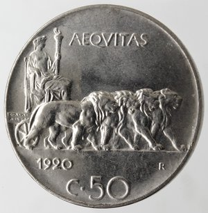 reverse: Casa Savoia. Vittorio Emanuele III. 1900-1943.50 centesimi 1920 Leone. Bordo liscio. Ni. Gig. 164.qSPL. Graffietto al diritto.