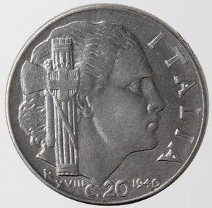 reverse: Casa Savoia. Vittorio Emanuele III. 1900-1943. 20 centesimi 1940 Anno XVIII Impero. Magnetica. Ac. Gig. 220a. FDC.