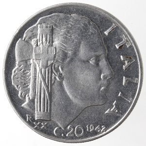 reverse: Casa Savoia. Vittorio Emanuele III. 1900-1943. 20 centesimi 1942 Anno XX Impero. Magnetica. Ac. Gig. 222. FDC. Stato Zecca.