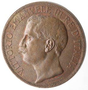 obverse: Casa Savoia. Vittorio Emanuele III. 1900-1946.10 Centesimi 1911 Cinquantenario. Ae. Gig. 227. qFDC. Rame rosso.
