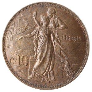 reverse: Casa Savoia. Vittorio Emanuele III. 1900-1946.10 Centesimi 1911 Cinquantenario. Ae. Gig. 227. qFDC. Rame rosso.