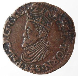obverse: Monete Estere. Paesi Bassi. Filippo II.1554-1598.Liard o Doppio Tornese 1583. Ae. Peso gr. 4,84. Diametro mm. 25. qSPL. Ottima conservazione per il tipo.