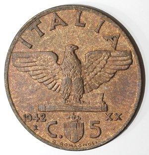 reverse: Casa Savoia. Vittorio Emanuele III. 1900-1943.5 Centesimi 1942 Anno XX. Impero. Ae. Gig. 291. FDC. Rame rosso.
