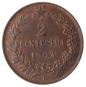 reverse: Casa Savoia. Vittorio Emanuele III. 1900-1943.2 centesimi 1903 valore. Ae. Gig. 293.qFDC. Tracce di rame rosso.