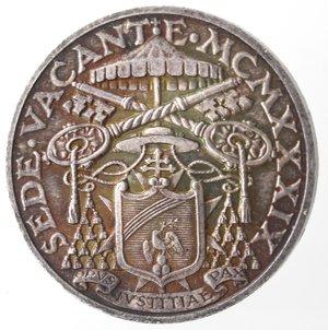 obverse: Vaticano. Roma. Sede Vacante 1939. 10 lire 1939. Ag. Gig. 94. Peso gr. 10. SPL+/qFDC. Patina.