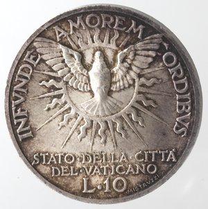 reverse: Vaticano. Roma. Sede Vacante 1939. 10 lire 1939. Ag. Gig. 94. Peso gr. 10. SPL+/qFDC. Patina.