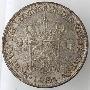 reverse: Monete Estere. Olanda. Guglielmina. 1948-1962. 2,5 Gulden 1934. Ag 720. Peso 25,00 gr. SPL. Patinata.