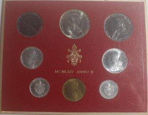 obverse: Vaticano. Paolo VI. 1963-1978. Serie divisionale 1964 Anno II. Gig. 277. Serie in Confezione originale della zecca. FDC.