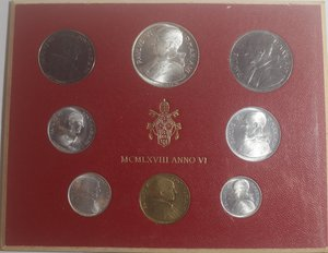 obverse: Vaticano. Paolo VI. 1963-1978. Serie divisionale 1968 Anno VI. Gig. 281. Serie in Confezione originale della zecca. FDC.