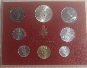 obverse: Vaticano. Paolo VI. 1963-1978. Serie divisionale 1972 Anno X. Gig. 285. Serie in Confezione originale della zecca. FDC.