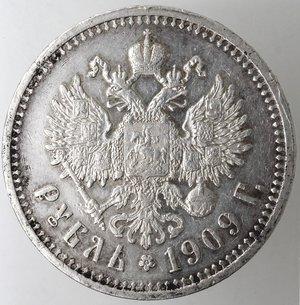 reverse: Monete Estere. Russia. Nicola II. Rublo 1909. Ag. 900. Km. Y# 59.3. Peso gr. 20,00. qSPL. 51000 pezzi coniati. R.