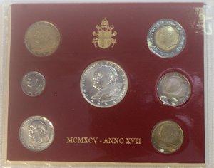 obverse: Vaticano. Giovanni Paolo II. 1978-2005. Serie divisionale 1995. Anno XVII. Confezione originale della zecca. Gig. 364. FDC