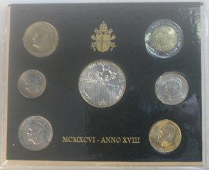 obverse: Vaticano. Giovanni Paolo II. 1978-2005. Serie divisionale 1996. Anno XVIII. Confezione originale della zecca. Gig. 365. FDC