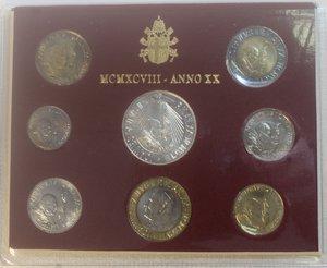 obverse: Vaticano. Giovanni Paolo II. 1978-2005. Serie divisionale 1998. Anno XX. Confezione originale della zecca. Gig. 367. FDC