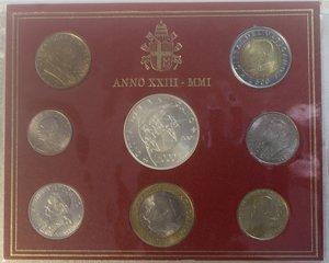 obverse: Vaticano. Giovanni Paolo II. 1978-2005. Serie divisionale 2001. Anno XXIII. Confezione originale della zecca. Gig. 370. FDC