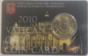 obverse: Vaticano. Benedetto XVI. 2005-2013. Coin Card n° 1. 50 centesimi di euro 2010. Br. FDC.