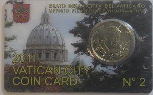 obverse: Vaticano. Benedetto XVI. 2005-2013. Coin Card n° 2. 50 centesimi di euro 2011. Br. FDC.