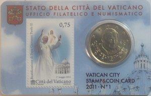 obverse: Vaticano. Benedetto XVI. 2005-2013. Stamp e Coin Card n° 1. 50 centesimi di euro 2011. Br. FDC.
