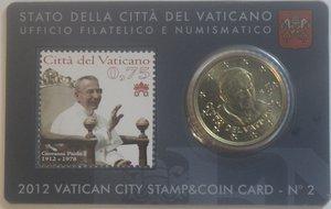 obverse: Vaticano. Benedetto XVI. 2005-2013. Stamp e Coin Card n° 2. 50 centesimi di euro 2012. Br. FDC.