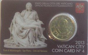 obverse: Vaticano. Benedetto XVI. 2005-2013. Coin Card n° 4. 50 centesimi di euro 2013. Br. FDC.